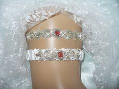 Valentines Day Red Garter Set Ruby Wedding by bridalambrosia