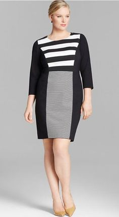 5 chic black and white plus size dresses