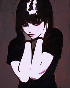 black_hair bracelet closed_mouth eyes_closed eyeshadow hands_on_own_neck highres ilya_kuvshinov jewelry lips makeup original short_hair solo upper_body Character Inspiration, Character Art, Character Design, Aesthetic Anime, Aesthetic Art, Character Illustration, Illustration Art, Art Sketches, Art Drawings