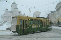 On the Bucket List: Winter in Finland. Photo: Tram in the winter, Helsinki, Finland
