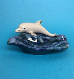 Unique Vintage Holland Mold Ceramic Soap Dish Gray Dolphin Swimming over Waves by Anaforia on Etsy