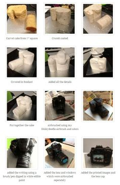 camera cake tutorial. Just what I need. I'm making a similar cake this week.