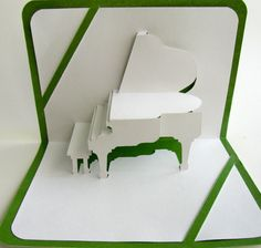 St Patrick Card GRAND PIANO 3D Pop Up Origamic Architecture Home Decoration Handmade Handcut in White and Bright Shimmery Metallic Green