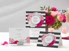 Design wedding invitations with Vistaprint! With hundreds of wedding invitation templates to choose from, there's something to suit all wedding themes and styles. Design your wedding invites now! Save The Date Invitations, Floral Wedding Invitations, Wedding Invitation Templates, Budget Wedding, Wedding Themes, Wedding Ideas, Bold Stripes, Wedding Save The Dates, Pretty Flowers