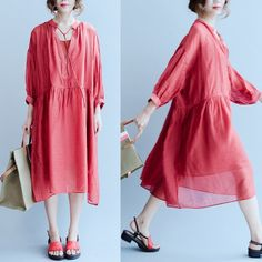 Women summer red two-pieces  long sleeve dress