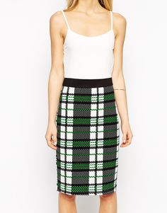 Image 3 ofStyle London Pencil Dress with Check Skirt