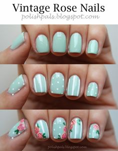 Polish Pals: Your Typical Mint Mani - Pepino Nail Art Pretty Nail Designs, Nail Art Designs, Vintage Rose Nails, Roses Vintage, Taupe Nails, Rose Nail Art, Rose Nail Design, Flower Nails, Diy Nails