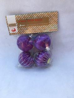 NOS Vintage Purple Christmas Baubles, Vintage Holiday Decorations, Christmas Tree Decorations, Vintage Tree Ornaments, Xmas Decorations