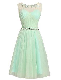Erosebridal Short Bridesmaid Dress Lace Appliques Beads Evening Dress Size 16 Mint
