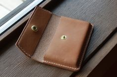 Leather Business Card Holder// Wallet // Full Grain Leather // Handstitched // Handmade