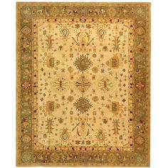 Handmade Heirloom Ivory/ Light Green Wool Rug (9'6 x 13'6) living room