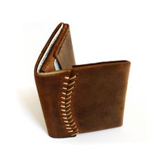 Handmade Leather Wallet Women wallet and Men wallet hand stitched baseball leather slim minimal design