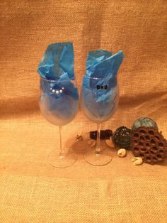 Frosted Etched bride and groom wine glasses  by CraftyWithDanielle, $20.00