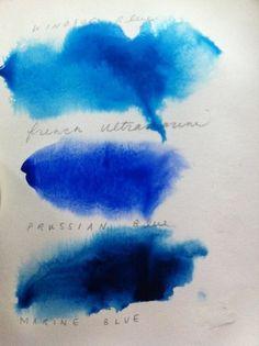 shades of blue in watercolor Azul Anil, Azul Indigo, Mood Indigo, Le Grand Bleu, Im Blue, Deep Blue, Prussian Blue, Paperclay, Copics