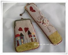 Embroidery Applique, Machine Embroidery, Lace Bag, Japanese Bag, Key Bag, Frame Purse, Purse Patterns, Glasses Case, Pin Cushions