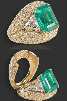 "BALEANI Collection ""Shark's mouth"": ring ""Green Fire"" in white gold with emerald and diamonds; Shell ""The mouth of a shark"" of yellow gold with diamonds"