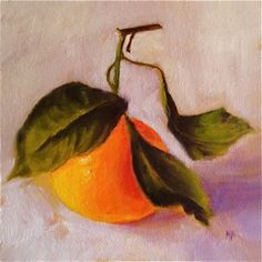 Clementine, Orange Painting, Still Life Oil Painting by Marina Petro, painting by artist Marina Petro
