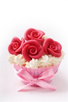Cupcake decorado con rosas para el Día de la Madre - Cupcakes para el Día de la…