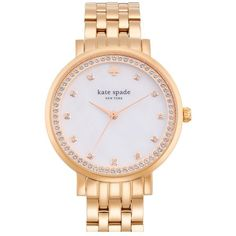 kate spade new york 'monterey' crystal dial bracelet watch, 38mm ($295) ❤ liked on Polyvore featuring jewelry, watches, rose gold, crystal jewelry, bracelet jewelry, crystal watches, bracelet watches and butterfly watches