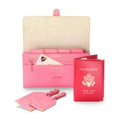 COMPLIMENTARY PERSONALISATION OF INITIALS The perfect travel accessory to your hand luggage, make sure you stay organised in style with our Classic USA Travel Collection. The leather travel wallet and luggage tags are handmade from the finest Pink...