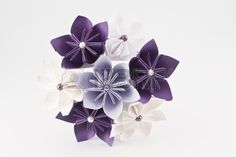 Origami wedding paper bouquet purple and white flowers  Stock Photo