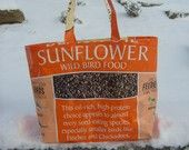 Recycled Upcycled Feed Sack Bird Seed Sunflower Market Bag Purse or Tote.  I'm going to do this with my chicken feed bags.  They're tough & colorful. (-: