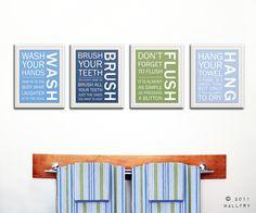 Kids bathroom decor. Bathroom art, bathroom prints, Bathroom rules, brush your teeth. Wash floss brush flush. 4-11x14 prints by WallFry. $69.00, via Etsy./ More ideas for wall art and words in the bathroom.