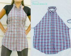 Button-down apron made from men's shirt
