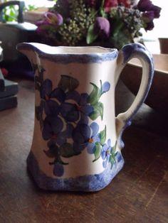 Vintage Cash Family Handpaiinted Blue Flowers