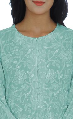 As far as salwars go, Shahi Patiala Salwars exude grace and elegance. This is a handcrafted sage green pure georgette shirt with intricate hand embroidered chikankari all over front back and sleeves. The shirt has a round shaped neckline and inche Chikankari Suits, Patiala Suit, Shalwar Kameez, Punjabi Suits, Dress Neck Designs, Blouse Designs, Hand Embroidery Dress, Zardozi Embroidery, Kurta Neck Design