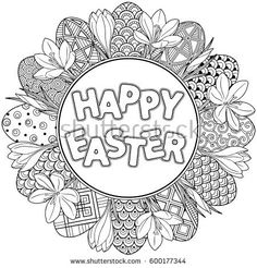 Happy Easter. Round frame of Black and White Doodle Easter Eggs and crocuses Coloring book for adults for relax and meditation. Vector isolated elements