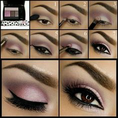Step by Step tutorial for a beautiful light purple --> pink smokey eye which can be easily achieved in 5 minutes #infographic...x