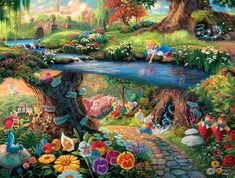 The whimsical world of Wonderland comes alive in the signature style of Thomas Kinkade. 24 x x © Thomas Kinkade © Disney Film Disney, Art Disney, Disney Kunst, Disney Love, Thomas Kinkade Disney, Alice In Wonderland Paintings, Wonderland Alice, Alice In Wonderland Background, Winter Wonderland