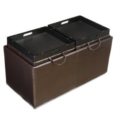 Jameson Double Storage Ottoman with Tray TablesYBA112 BLACK