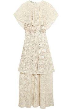 Stella McCartney | Appliquéd tiered cotton-blend lace gown | NET-A-PORTER.COM
