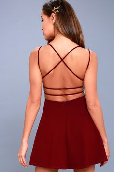 The Believe in Love Wine Red Backless Skater Dress will make a romantic out of you! Skater dress with a plunging neckline and strappy, open back. Red Bridesmaid Dresses, Hoco Dresses, Modest Dresses, Homecoming Dresses, Red Hoco Dress, Red Bridesmaids, Skater Dresses, Dress Prom, Wedding Dress