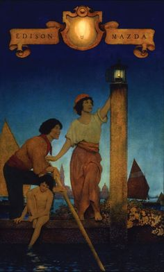 "Edison Mazda lamps 1924 calendar, ""Venetian Lamplighters,"" by Maxfield Parrish - see Max's board. American Illustration, Illustration Art, Maxfield Parrish, Painting Prints, Art Prints, Art For Art Sake, National Museum, American Artists, Love Art"