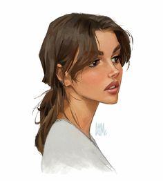 Digital Art Girl, Digital Portrait, Portrait Art, Portrait Cartoon, Arte Copic, Mode Poster, Arte Sketchbook, Cartoon Art Styles, Sketch Art