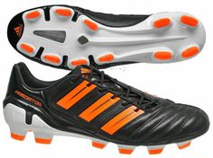 Adidas Adipower Predator TRX FG Mens Soccer Cleats, Black/Orange K-Leather, NEW