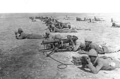 Ottoman Turk Machine Gun Corps at Tel esh Sheria Gaza Line, in 1917, part of the Sinai and Palestine Campaign. British troops were battling the the Ottoman Empire (supported by Germany), for control of the Suez Canal, Sinai Peninsula, and Palestine. (Library of Congress) - World War I in Photos: Introduction - The Atlantic