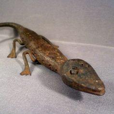 Vintage Mid Century Handmade Folk Art Lizard by BadCatBoutique.
