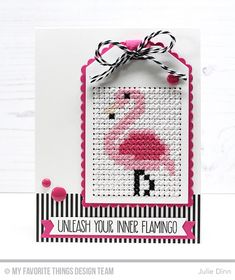 Embroidery Stitches Patterns Stamps: Let's Flamingle Die-namics: Scallop Cross-Stitch Tag, Cross-Stitch Tag, Essential Fishtail Sentiment Strips Julie Dinn Embroidery Cards, Learn Embroidery, Hand Embroidery Stitches, Embroidery Techniques, Cross Stitch Embroidery, Embroidery Patterns, Cross Stitch Patterns, Stitching On Paper, Cross Stitching