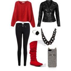 Outfit rojo y negro