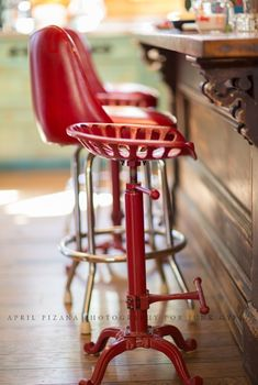 retro tractor seat stools combined with diner style stools...architectural old store counter from the people's store in lambertville, new jersey. photo cred: april pizana