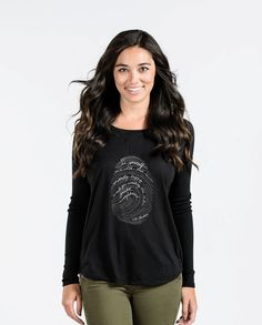 70de103f07194 EMERSON FINGERPRINT Womens Black Flowy Long Sleeve