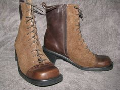 Vintage Naot Brown Tweed Leather Lace up  Ankle by LIFEofOLWEN, $54.99