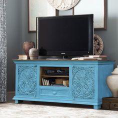 meble indyjskie kolorowe | rzeźbiona szafka rtv 160 cm niebieska