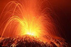 Strombolian eruption at Stromboli volcano