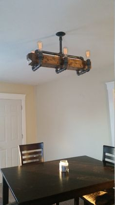 Distressed Wood Beam Chandelier Ceiling Pipe by RuralIndustrial