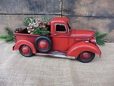 red pickup truck folk art rustic christmas decor vintage style metal toy pick up